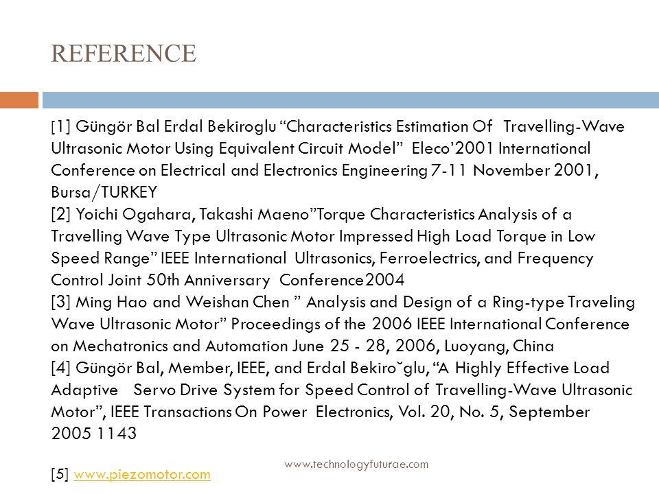 REFERENCE [1] Güngör Bal Erdal Bekiroglu Characteristics Estimation Of Travelling-Wave.